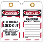 DANGER ELECTRICIAN LOCK-OUT - Accident Prevention Lockout Tags