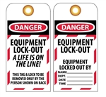DANGER EQUIPMENT LOCK-OUT A LIFE IS ON THE LINE - Accident Prevention Lockout Tags