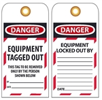 DANGER EQUIPMENT TAGGED OUT - Accident Prevention Lockout Tags
