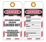 DANGER THIS ENERGY SOURCE HAS BEEN LOCKED OUT - Accident Prevention Lockout Tags