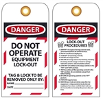 "Danger Do Not Operate Lockout Procedures Tag - 6"" X 3"" Choose from Rigid Vinyl or Card Stock"