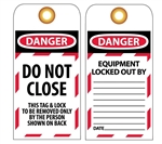 DANGER DO NOT CLOSE - Accident Prevention Lockout Tags
