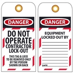 DANGER DO NOT OPERATE, CONTRACTOR LOCK-OUT - Accident Prevention Tags