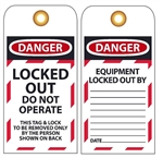 DANGER LOCKED OUT DO NOT OPERATE - Accident Prevention Lockout Tags