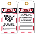 DANGER EQUIPMENT LOCKED OUT - Accident Prevention Lockout Tags