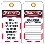DANGER THIS EQUIPMENT IS SUPPLIED BY MORE THAN ONE POWER SOURCE, Accident Prevention Tags
