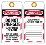 DANGER DO NOT ENERGIZE EQUIPMENT LOCK-OUT - Accident Prevention Lockout Tags