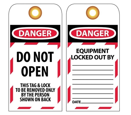 DANGER DO NOT OPEN - Accident Prevention Lockout Tags