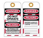 DANGER DO NOT OPERATE - Bilingual Lockout Tags