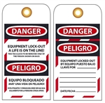 Bilingual DANGER EQUIPMENT LOCK-OUT A LIFE IS ON THE LINE - Accident Prevention Lockout Tags