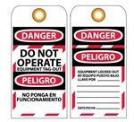 DANGER DO NOT OPERATE EQUIPMENT TAG-OUT - Bilingual Lockout Tags
