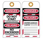 DANGER DO NOT START - Bilingual Lockout Tags