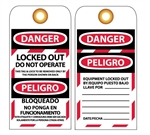 DANGER LOCKED OUT  DO NOT OPERATE - Bilingual Lockout Tags
