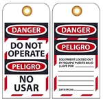 DANGER DO NOT OPERATE - Bilingual English/Spanish Lockout Tags