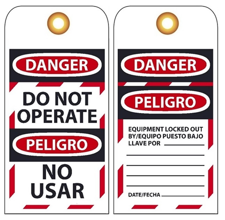 Danger Do Not Operate Bilingual Safety Lockout Tag