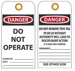 DANGER DO NOT OPERATE, Vinyl or Card Stock 6 X 3 Accident Prevention Tags