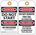 BILINGUAL DANGER DO NOT START - Accident Prevention Tags