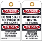 BILINGUAL DANGER DO NOT START MEN WORKING ON THIS MACHINE- Accident Prevention Tags