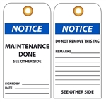 NOTICE MAINTENANCE DONE - Vinyl or Card Stock Maintenance Tags