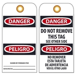 BILINGUAL BLANK DANGER -Vinyl or Card Stock Accident Prevention Tags