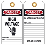 DANGER HIGH VOLTAGE (w/Graphic) Vinyl or Card Stock Accident Prevention Tags
