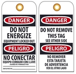 BILINGUAL DANGER DO NOT ENERGIZE - Vinyl or Card Stock Accident Prevention Tags