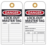 DANGER LOCK-OUT MASTER TAG - Vinyl or Card Stock Accident Prevention Tags