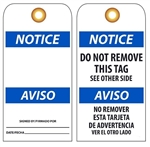 BILINGUAL BLANK NOTICE - Vinyl or Card Stock Accident Prevention Tags