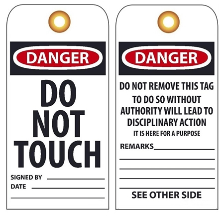 DANGER DO NOT TOUCH - Vinyl or Card Stock Accident Prevention Tags