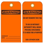 BLANK WARNING - Vinyl or Card Stock Accident Prevention Tags