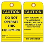 CAUTION DO NOT OPERATE THIS EQUIPMENT - Vinyl or Card Stock Accident Prevention Tags