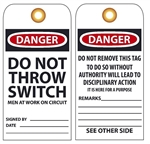 DANGER DO NOT THROW SWITCH MEN WORKING ON CIRCUIT - Vinyl or Card Stock Accident Prevention Tags
