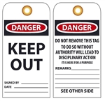 DANGER KEEP OUT - Vinyl or Cardstock Accident Prevention Tags