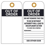 OUT OF ORDER - Vinyl or Card Stock Accident Prevention Tag
