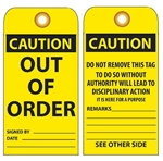 CAUTION OUT OF ORDER - Vinyl or CardStock Accident Prevention Tags