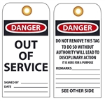 DANGER OUT OF SERVICE - Vinyl or Card Stock Accident Prevention Tags