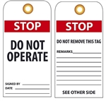 STOP DO NOT OPERATE - Vinyl or Card Stock Accident Prevention Tags