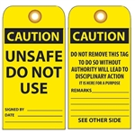 CAUTION UNSAFE DO NOT USE - Vinyl or Card Stock Accident Prevention Tags