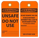 WARNING UNSAFE DO NOT USE - Vinyl or CardStock Accident Prevention Tags