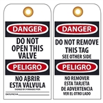 BILINGUAL DANGER DO NOT OPEN THIS VALVE - Vinyl or CardStock Accident Prevention Tags