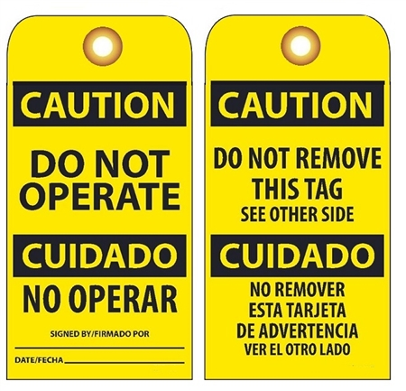 BILINGUAL CAUTION DO NOT OPERATE - Vinyl or Card Stock Accident Prevention Tags