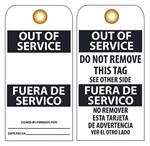 BILINGUAL OUT OF SERVICE - Vinyl or Card Stock Accident Prevention Tags