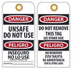 BILINGUAL DANGER UNSAFE DO NOT USE - Vinyl or CardStock Accident Prevention Tags