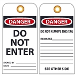 DANGER DO NOT ENTER - Vinyl or Card Stock Accident Prevention Tags