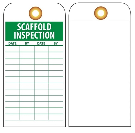 SCAFFOLD INSPECTION RECORD - Vinyl or CardStock Tags