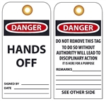 DANGER HANDS OFF - Vinyl or Card Stock Accident Prevention Tags