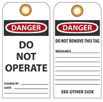 DANGER DO NOT OPERATE - Vinyl or CardStock Accident Prevention Tags