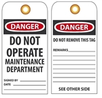 DANGER DO NOT OPERATE MAINTENANCE DEPARTMENT - Vinyl or Card Stock Accident Prevention Tags