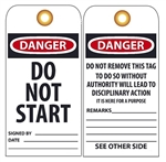 DANGER DO NOT START - Vinyl or Card Stock Accident Prevention Tags