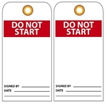 DO NOT START - Vinyl or Card Stock Accident Prevention Tags